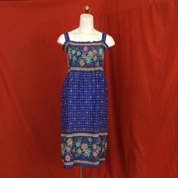 Vintage Dresses & Skirts - VINTAGE 70s Blue Floral Spaghetti Strap Mini